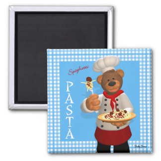 Dinky Bears Chef: Pasta Square Magnet