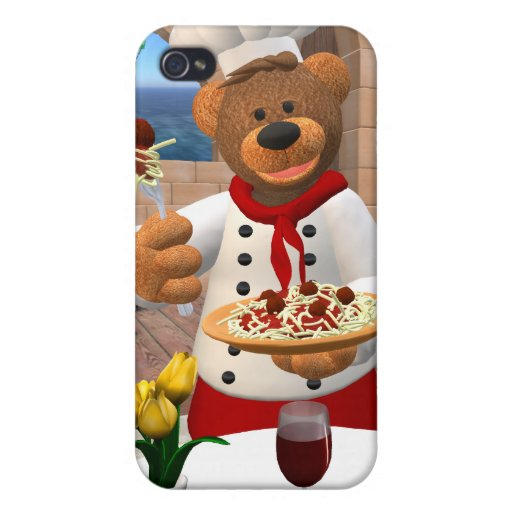 Dinky Bears Chef: Spaghetti with Meatballs iPhone 4 Covers