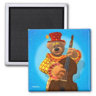 Dinky Bears Clown with Bass Square Magnet