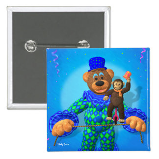 Dinky Bears Clown with his little friend 15 Cm Square Badge