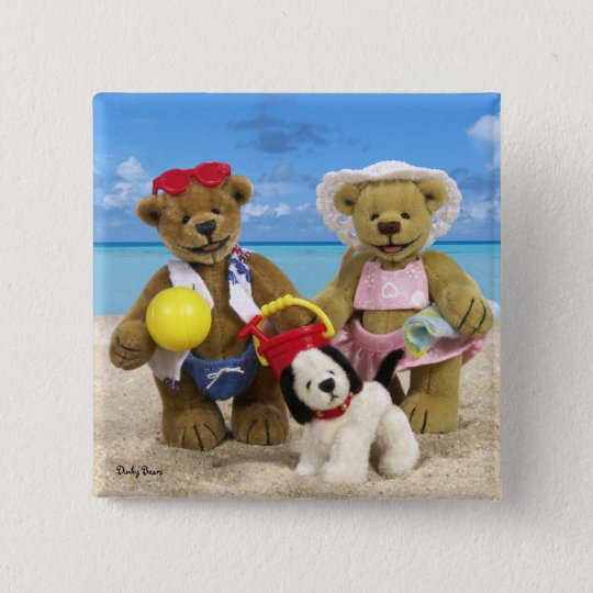Dinky Bears Day at the Beach 15 Cm Square Badge