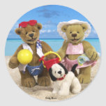Dinky Bears Day at the Beach Round Stickers