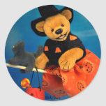 Dinky Bears Flying Witch Round Stickers