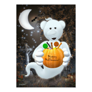 Dinky Bears Little Ghost with Goodies 13 Cm X 18 Cm Invitation Card