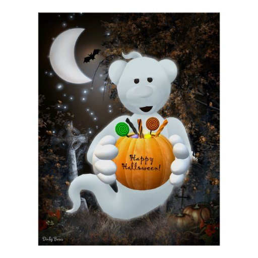Dinky Bears Little Ghost with Goodies Poster
