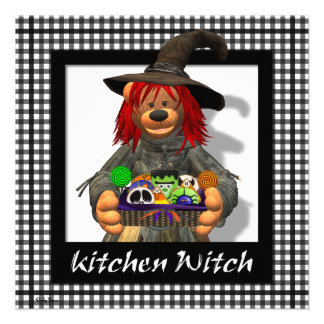 Dinky Bears Little Kitchen Witch Custom Invitations