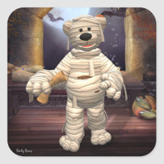 Dinky Bears Little Mummy Square Stickers