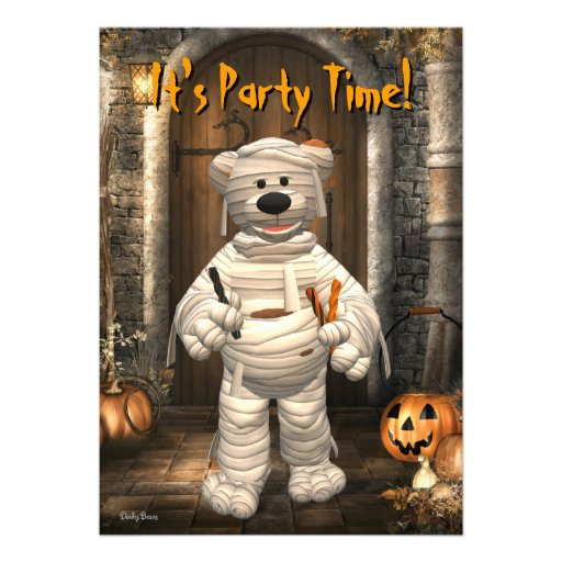 Dinky Bears Little Trick or Treat Mummy Personalized Announcement