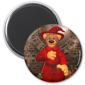 Dinky Bears Little Trick or Treat Wizard 6 Cm Round Magnet