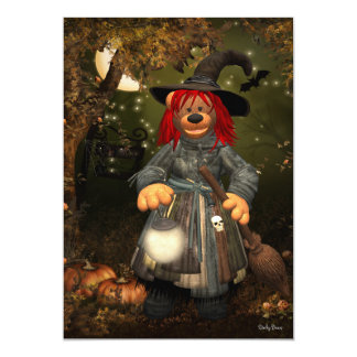 Dinky Bears Little Witch 13 Cm X 18 Cm Invitation Card