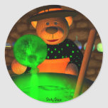 Dinky Bears Little Witch Round Stickers