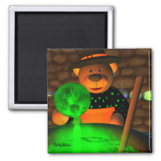 Dinky Bears Little Witch Square Magnet