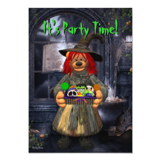 Dinky Bears Little Witch with Cookies Invitation