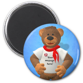 Dinky Bears Message on a T-Shirt 6 Cm Round Magnet