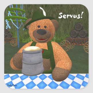 Dinky Bears Oktoberfest Square Sticker