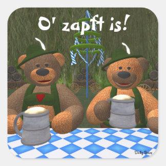 Dinky Bears Oktoberfest Square Stickers