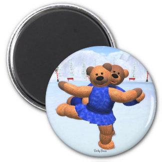 Dinky Bears on Ice 6 Cm Round Magnet