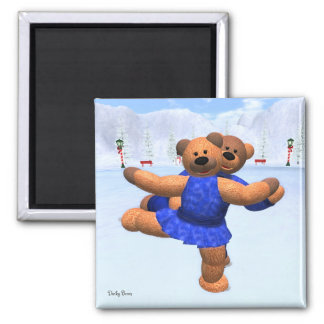 Dinky Bears on Ice Square Magnet