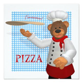 Dinky Bears Pizza Baker 13 Cm X 13 Cm Square Invitation Card