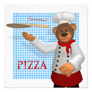 Dinky Bears Pizza Baker Custom Announcements