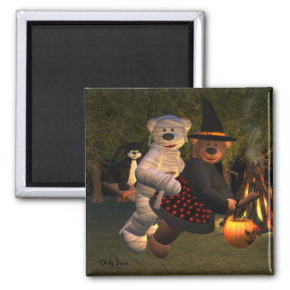 Dinky Bears Witch & Mummy Square Magnet