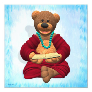 Dinky Buddha Bear with Book 13 Cm X 13 Cm Square Invitation Card