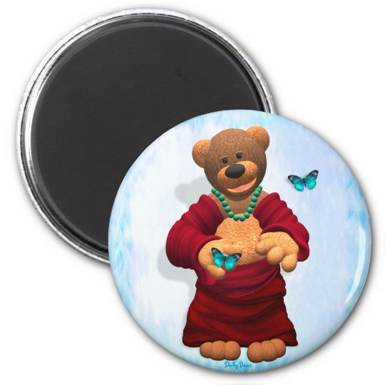 Dinky Buddha Bear with Butterflies 6 Cm Round Magnet