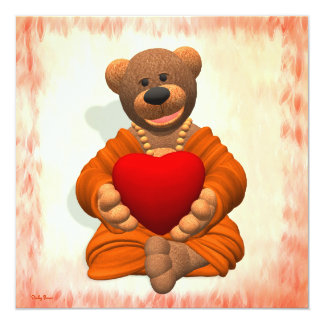 Dinky Buddha Bear with Heart 13 Cm X 13 Cm Square Invitation Card