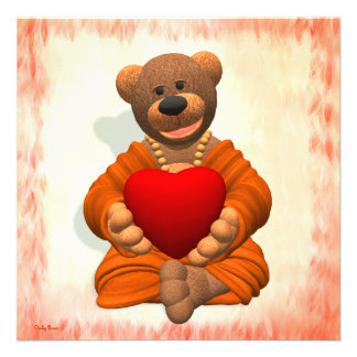 Dinky Buddha Bear with Heart Personalized Invitations