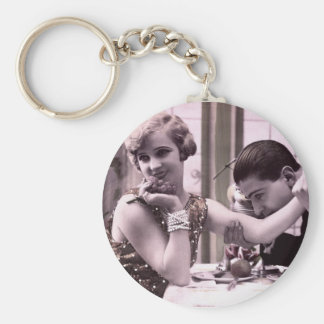 Dinner Date Basic Round Button Key Ring