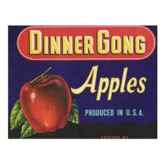 dinner gong apples postcard