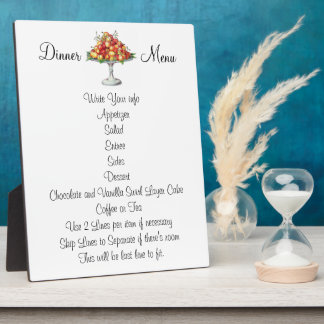Dinner Lunch Wedding or Event Menu Cherry Dessert Plaque