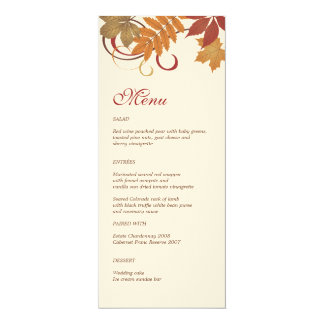 Dinner Menu Card | Autumn Falling Leaves