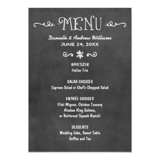 Dinner Menu Card | Black Chalkboard Charm