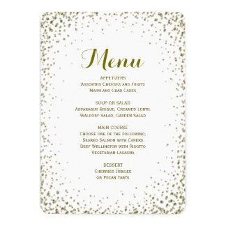 Dinner Menu | Gold Confetti 13 Cm X 18 Cm Invitation Card