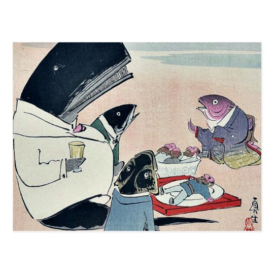 Dinner of Russian sailors by Kobayashi,Kiyochika Postcard
