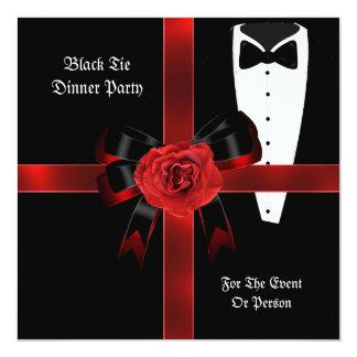 "Dinner Party Formal Red Black Tie Corporate Invite 5.25"" Square Invitation Card"