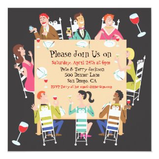 """Dinner Party Invitation with table and friends 5.25"""" Square Invitation Card"""
