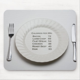 Dinner plate with list of meat calories on it mouse pad