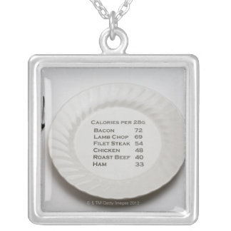 Dinner plate with list of meat calories on it silver plated necklace