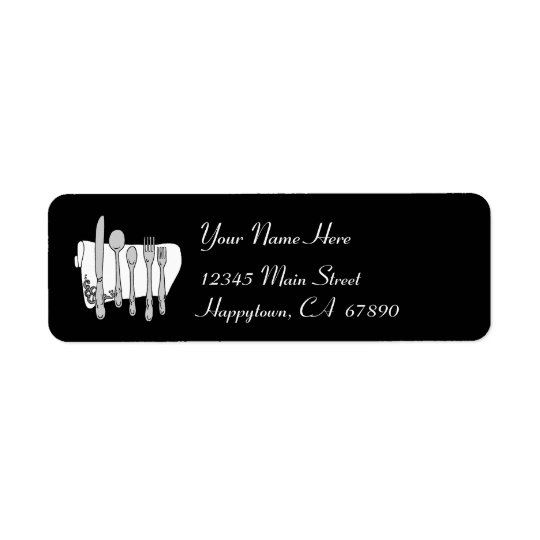 Dinnerware Black and White Address Label Template