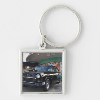 Dinning in the 50's at Mel's Diner Silver-Colored Square Key Ring
