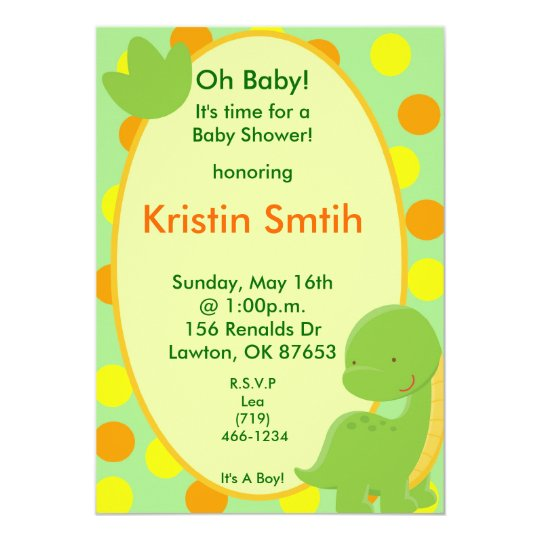 dino2, Oh Baby!, It's time for aBaby Shower!, h... Card