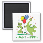Dino 2nd Birthday Square Magnet