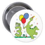 Dino 3rd Birthday Button Buttons