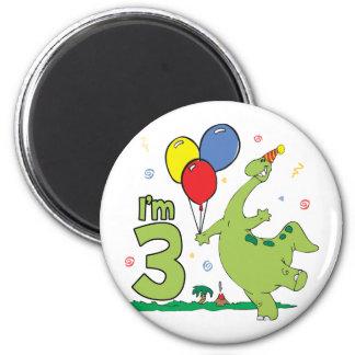 Dino 3rd Birthday Fridge Magnets