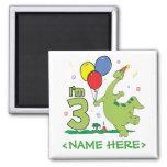 Dino 3rd Birthday Magnets