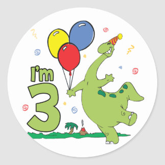Dino 3rd Birthday Round Sticker