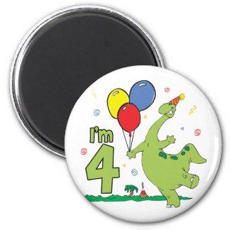 Dino 4th Birthday 6 Cm Round Magnet