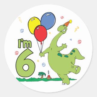 Dino 6th Birthday - Customized Classic Round Sticker